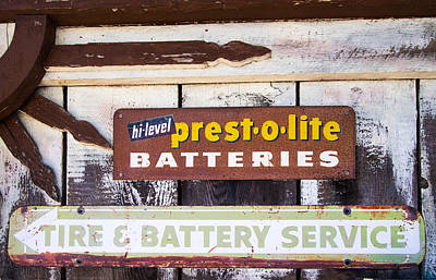 Photograph - Presto O Lite Battery Sign by Roger Mullenhour