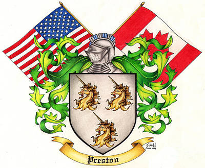 Family Crest Drawing - Preston Family Crest by Sheryl Unwin