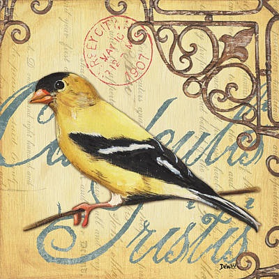 Goldfinch Painting - Pretty Bird 3 by Debbie DeWitt