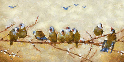 Digital Art - Pretty Birds All In A Row by Charmaine Zoe