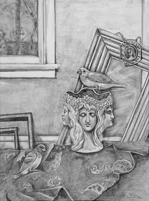 Parakeet Drawing - Pretty Boy And Big Shot Visit by Susan Culver