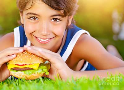 Pretty Boy Eat Burger Outdoors Art Print by Anna Om