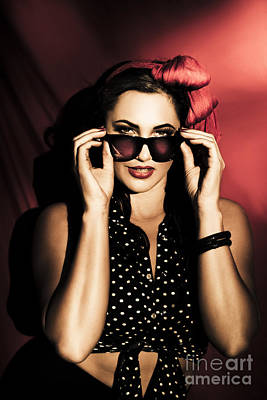 Specs Photograph - Pretty Brunette Latino Girl In Pin-up Fashion  by Jorgo Photography - Wall Art Gallery