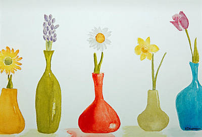 Pretty Flowers In A Row Art Print by Elvira Ingram