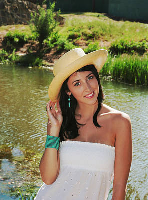 Photograph - Pretty Girl In A Straw Hat by John Orsbun