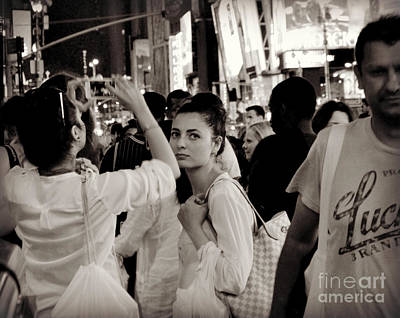 Photograph - Pretty Girl In The Crowd - Times Square - New York by Miriam Danar