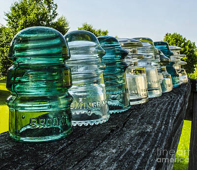Pretty Glass Insulators All In A Row Art Print