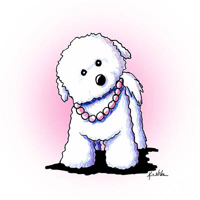 Pretty In Pearls Bichon Frise Art Print