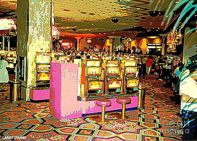 Painting - Pretty In Pink Bar Stools And Slots Reserved For Spring Break High Rollers   by Carole Spandau