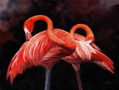 Flamingos Painting - Pretty In Pink by David Stribbling