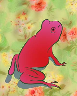 Digital Art - Pretty In Pink Frog by MM Anderson