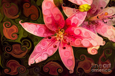 Stamen Mixed Media - Pretty In Pink by Omaste Witkowski
