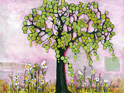 Dove Mixed Media - Pretty In Pink Paradise Tree by Blenda Studio