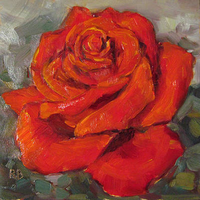 Painting - Pretty In Red Rose Oil Painting by Robie Benve