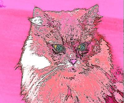 Pretty Kitty In Pink Art Print by Kathy Budd