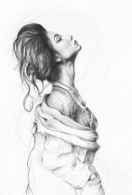 Pencil Drawings Drawing - Pretty Lady by Olga Shvartsur