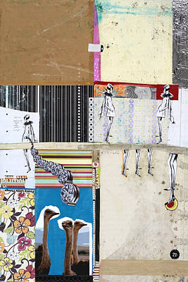 Ostrich Mixed Media - Pretty Little Things by Michel Keck