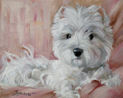 Portrait Painting - Pretty On Pink by Mary Sparrow