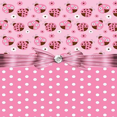Bug Digital Art - Pretty Pink Ladybugs by Debra  Miller