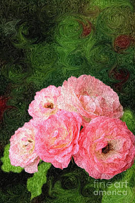 Photograph - Pretty Pink Painterly Roses With Green Background by Beverly Claire Kaiya