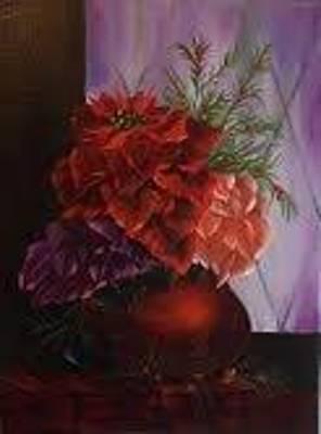 Lisa Rodriguez Painting - Pretty Poinsettias by Lisa Rodriguez