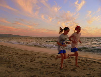 Photograph - Pretty Young Girls Jogging On Beach by Jeff Lowe