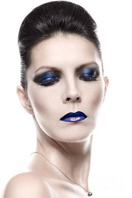 Pretty Young Woman In Blue Eye Shadow Makeup Art Print by Lars Zahner