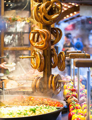 Pretzels And Food At German Christmas Market Print by Susan Schmitz
