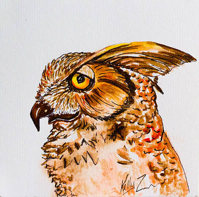 Painting - Prey For Wisdom - Horned Owl Painting by Kelly     ZumBerge