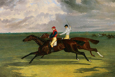 Race Horse Painting - Priam Beating Lord Exeter's Augustus At Newmarket by John Frederick Herring