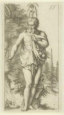 Fertility Drawing - Priapus, Arnold Houbraken by Arnold Houbraken