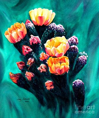 Art Print featuring the painting Prickly Pear Cactus Painting by Judy Filarecki