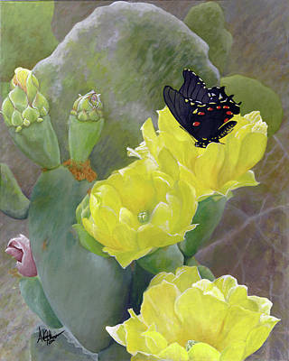 Painting - Prickly Pear Flower by Adam Johnson