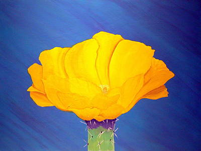 Desert Flower Painting - Prickly Pear Flower by Karyn Robinson