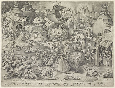 Deadly Drawing - Pride, Pieter Van Der Heyden, Hieronymus Cock by Pieter Van Der Heyden And Hieronymus Cock