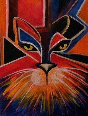 Primary Cat Art Print by Carolyn LeGrand