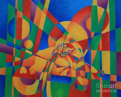Primary Cat IIi Art Print by Pamela Clements