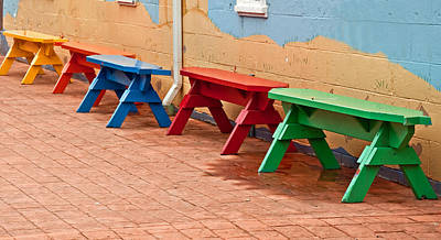 Photograph - Primary Colored Benches In Row On Bricks by Valerie Garner