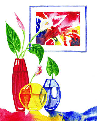 Interior Still Life Painting - Primary Colors Design by Irina Sztukowski