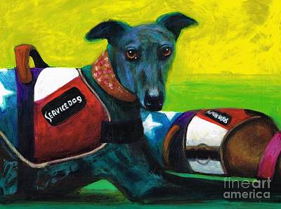 Greyhound Painting - Primary Colors by Frances Marino