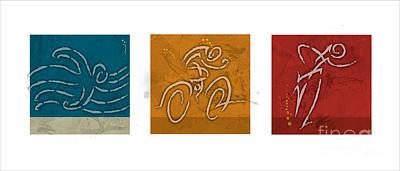 Ironman Painting - Primary Colors Triathlon Triptych by Alejandro Maldonado