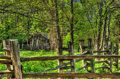 Primative Pioneer Barn And Fence Art Print by Douglas Barnett