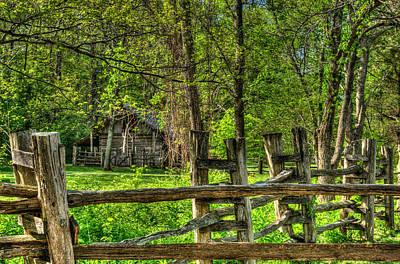 Homesickness Photograph - Primative Pioneer Barn And Fence by Douglas Barnett