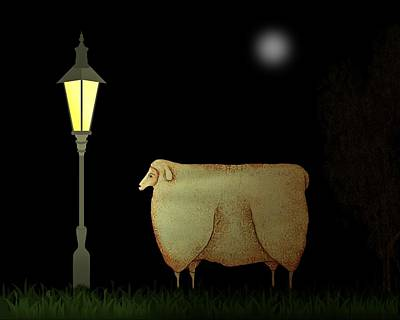 Lamplight Painting - Primitive Sheep Midnight Snack By Lamplight by Movie Poster Prints