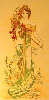 Painting - Primavera After Mucha by Tony Ruggiero