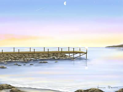 Seascape Digital Painting - Prime Luci by Veronica Minozzi