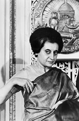 Waist Up Photograph - Prime Minister Indira Gandhi by Warren Leffler