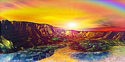 Rainbow Dawn Over Primeval Tide  Life Begins V3 Art Print by Rebecca Phillips
