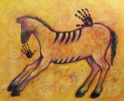 Painting - Primitive Color Horse by Carol Suzanne Niebuhr