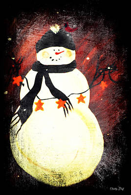 Primitive Happy Snowman Greetings Print by Chastity Hoff